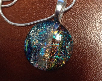 One of a kind dichroic pendant necklace, bohemian jewelry, glass pendant