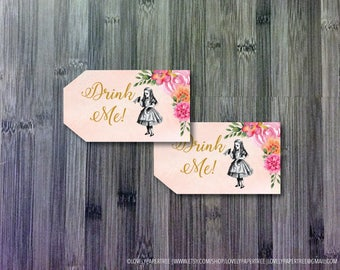 Drink Me Thank you Tag | Alice in Wonderland | Bottle Tags  | Instant Download | TAG4