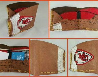 Repurposed Rawlings FB115 NFL Vintage football Kansas City Chief Wallet USA Baseball Glove style
