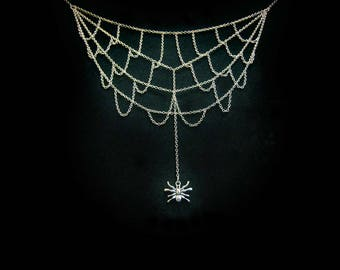 Spider Jewellery - Dangling Spider on Web Necklace [SN]