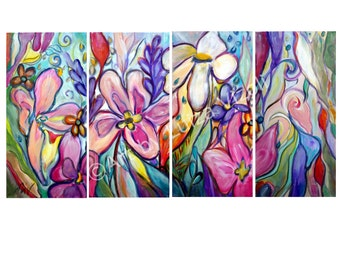 Original Painting Orchid Flowers Canvas Painting, Whimsical Floral Abstract Art by Luiza Vizoli 48x24