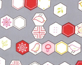 Sew Stitchy Hexagons Fabric by Aneela Hoey for Moda Fabrics 18542 15 Needle (Gray) - Priced by the 1/2 yard