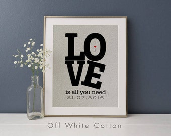 Love Is All You Need Print • Gift for Husband or Wife • Couples Anniversary or Engagement Gift • Gift for Her • Personalized Fabric Print