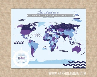 Nautical canvas map etsy nautical nursery decor interactive world map pushpin map personalized baby gift choose gumiabroncs Images