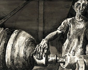 Ink Drawing Giclee Art Print, Black and White, Industrial, Machinery, Sketch