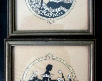 Pair 1930s BUZZA MOTTO Southern Belle Silhouette Garden framed screened prints with cut out  Made in USA