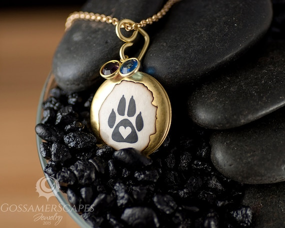 cut lockets pawprints necklace sterling heart print srn jewelry silver bling out pendant paw