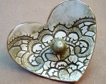 Ceramic Ring Holder Bowl Lace Heart Sage Olive green edged in gold