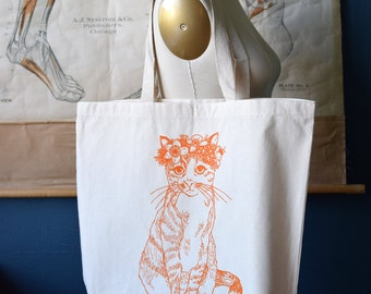 Recycled Cotton Canvas Tote Bag - Screen Printed Grocery Bag - Eco Friendly Shopper Tote - Large Tote - Farmers Market - Cat - Floral