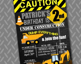 Construction - Caution, Dump Everything - Birthday Party Invitation - 5x7 - Printable PDF & JPG