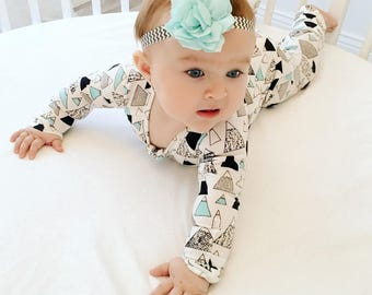 Baby Girls Boys Pajammie Zipsuit Mountain Peaks Bamboo Organic Cotton Footed Footie Romper