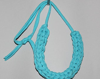 Chunky Blue T-shirt Yarn Necklace