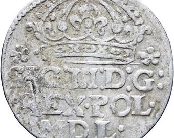 1614 Grosz Sigismund III Groschen Polish–Lithuanian Commonwealth Silver Coin Mint Krakow