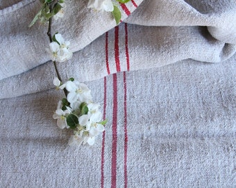 FP 485 :antique grainsack,RASPBERRY Red, 42.52 long,holiday feeling pillow cushion, decor , french lin tablerunner, upholstery, old linen