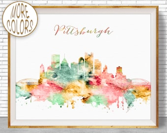 Pittsburgh Art Pittsburgh Skyline Pittsburgh Pennsylvania Office Decor City Skyline Prints Office Poster ArtPrintZone