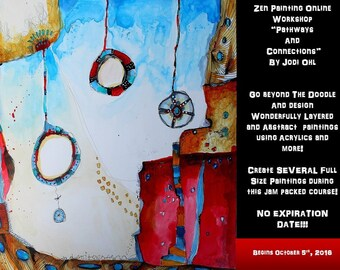 Zen Painting Online Workshop Abstract Painting E-Course using Acrylic Paint by Jodi Ohl