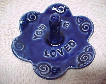 Wedding Ring Dish, Blue Ring Dish, Ceramic Ring Holder, Ready to Ship, Cobalt Blue, Stamped YOU ARE LOVED, Blossom Shape, potterybyAnita