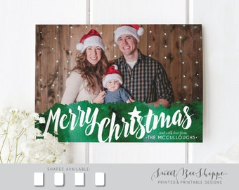 Merry Christmas Photo Card in Green Watercolor (Horizontal) Christmas Card Photo, Holiday Card Back Design, Christmas Card Photo Family Kids