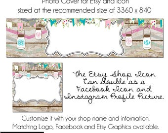 DIY Etsy Cover Photo - Add your own Text, Instant Download, Lovely Declas, New Cover Photo For Etsy, Made to Match Graphics