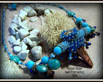 HOLD for Terry - Clearance Sale Dancer Pendant - Turquoise and Bronze Beaded and Fringed Necklace by Hannah Rosner