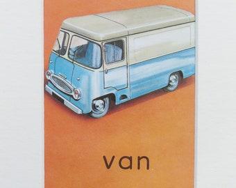 Van - Original vintage Ladybird Book print, Mounted/ Matted Ready for Framing