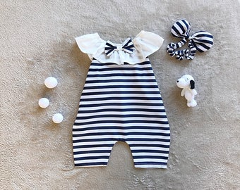 baby girl jumpsuit- baby outfit- baby girl clothing- baby playsuit- cotton- Black & White strip baby girl jumpsuit