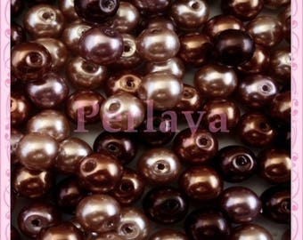 Mix of 150 beads 8mm glass CHOCOLATE Brown, caramel, chocolate REF2322
