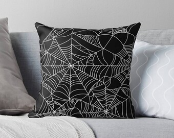 Spiderweb Decor | Spiderweb Pillow | Halloween Pillow | Halloween Party Decor | Creepy Bedding | Scary Bedding | Creepy Home Decor