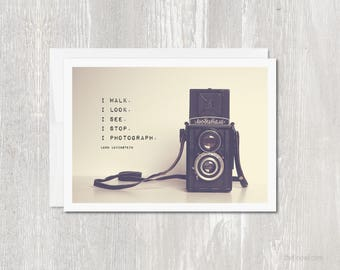 Greeting Card Vintage Camera | Vintage Camera | Inspirational Photography Quote | Leon Levinstein | For Artists | For Photographers