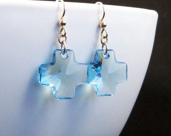 Aquamarine Crystal Cross Earrings, Sterling Silver & Blue Swarovski Christian Jewelry