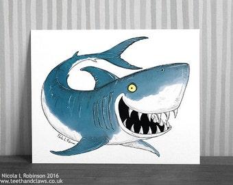 Shark Print, Shark Art Print, Nautical Decor, Shark Art, Sea Life Print, Nautical Art Print, Shark Wall Art, Great White Shark, Shark Decor