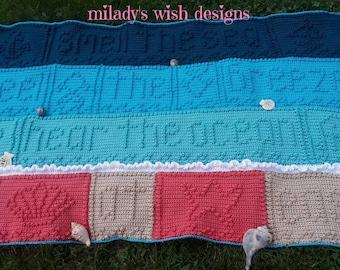 Sea Serenity blanket, Afghan, crochet throw, ocean, nautical theme