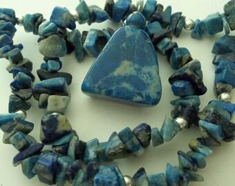 Blue lapis Dyed Rock Chip necklace pendant