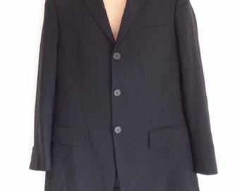 Men's Vintage HUGO BOSS Fitted Stretch Tailored Formal Office Business Black Wool Blazer Size 44 / S