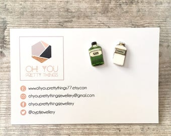 Gin lover gift - Gin and tonic - Stud earrings - Gin earrings - Quirky earrings - Gin jewellery - Gin gift - Gin lover - Gift for her