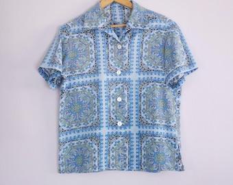 Vintage 1950's/60's Blue Tile Print Button Down Shirt M