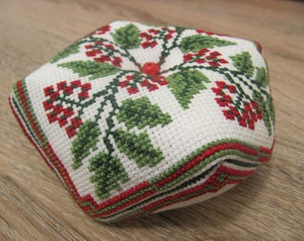 Cross Stitch Pattern Biscornu Pin Cushion Viburnum