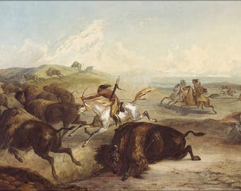 Poster, Many Sizes Available; Karl Bodmer Native American Indians Hunting Bison Buffalo 1839