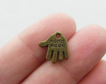 16 Hand charms antique bronze tone BC93