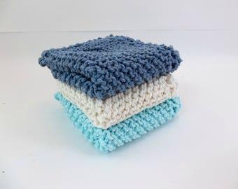 Knit Cotton Wash / Dish Cloths Set of 3 Aqua Blue and Natural