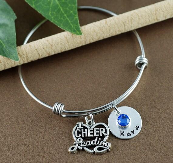 Cheer Bracelet, Personalized Cheer Bracelet, Cheerleader Gift, Cheer Charm Bracelet, Cheerleading Jewelry, Cheer Jewelry, Cheer Charms