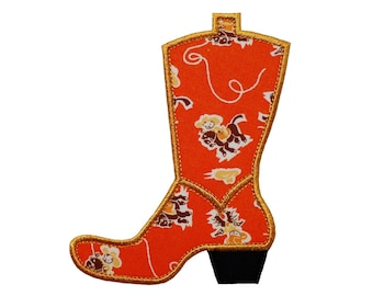 "Cowboy Boot Machine Embroidery Designs Applique Patterns in 4 sizes 3"", 4"", 5"" and 6"""