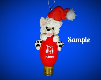 American Eskimo Santa dog Christmas Holidays Light Bulb Ornament Sally's Bits of Clay Personalized Free with dog's name