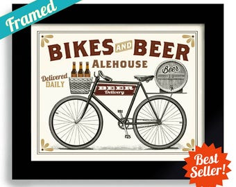 Bicycle Gift, Beer Art, Bike Art for Boyfriend, Bicycle Art, Enthusiast Bicyclist Gift Bike Rider Cyclist Outdoorsman Rides Bikes