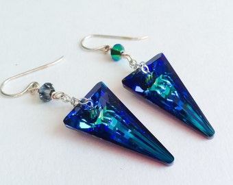 Sterling Silver Chain and French Hook Long Dangle Vibrant Blue Dagger Swarovski Crystal Statement Earrings-Belizean Blue II by LadyGreyBeads