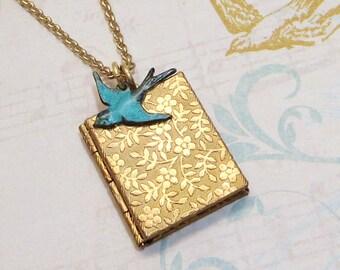 Book Locket Brass Book Locket Floral Locket Blue Bird Locket Bluebird Locket Petite Locket Bird Necklace Bird Pendant Turquoise Bridesmaid