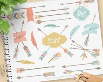 Tribal Arrows (1) Clipart, American Indian, Native American, boho, bohemian, hipster, Feathers, Commercial Use, Vector clip art, SVG Files