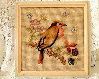Wooden Frame, Wool Embroidered Bird, Old Hanging Wood Frame, Vintage Kitchen Country Cottage Home Decor Decoration Ornaments, Collectibles