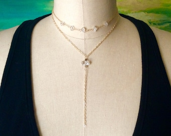 April Birthstone/ Herkimer Diamond Necklace/ Raw Stone Crystal Y Necklace/ Choker Necklace/ Gold Necklace/ Gift for Her/ Birthstone Jewelry