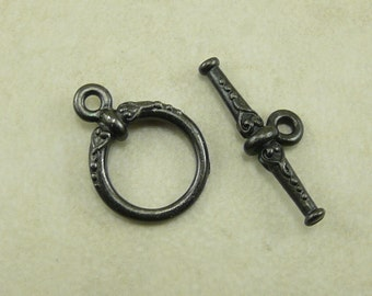 Heirloom Victorian Style Toggle Clasp Ornate TierraCast Qty 1 > Steampunk Pretty Black Ox Plated LEAD FREE Pewter I ship Internationally NP